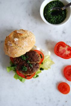 eat in my kitchen ° A juicy Lamb Burger with Ramp Pesto