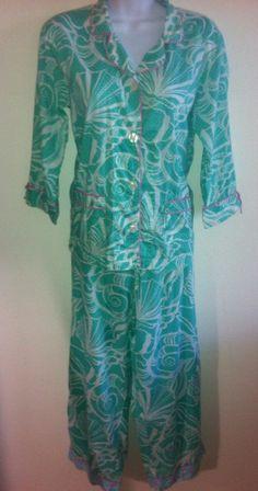 "LILLY PULITZER Cotton Blue Pink 2 PC PAJAMA SET Shirt  Drawstring Pants Size XS #LillyPulitzer #PajamaSets - SOLD ""nice pajama set thank you"""