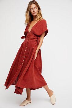 Endless Summer Tuscan Red Jacinta Midi Dress at Free People Clothing Boutique