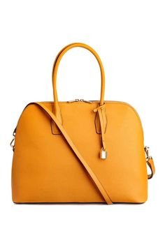 Handbag in thick, grained faux leather with two handles, zip at top, and detachable, adjustable shoulder strap. Detachable strap with decorative H&m Handbags, Vegan Handbags, Stylish Handbags, Leather Shoulder Bag, Shoulder Strap, Vegan Purses, Fall Bags, Latest Shoes, Orange