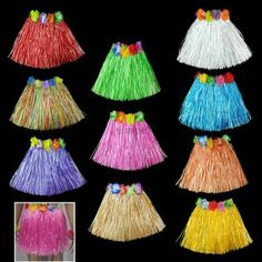 10pc Hawaiian Tropical Hula Luau Grass Skirts Party Favor Birthday Supply for the kids
