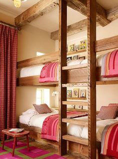 Kelly and Abramson Architecture: Girls ski chalet bunk room with rustic built-in bunk beds and exposed wood beamed . - Feste Home Decor Girls Bunk Beds, Bunk Bed Rooms, Bunk Beds Built In, Kid Beds, Lofted Beds, Home Bedroom, Girls Bedroom, Bedroom Decor, Bedroom Ideas
