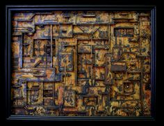 """Jud Turner  Industrial Psychotropia  July 2011   30"""" x 38"""" x 5""""  mixed media assemblage in wood frame"""