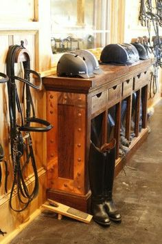 Horse Barn tack Room for owners who offer lessons & boarding. Dream Stables, Dream Barn, Horse Stables, Horse Farms, Tack Room Organization, Chesapeake City, Horse Tack Rooms, Horse Ranch, Barn Plans