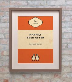 Personalised Penguin Book Cover Print  New Colours by BokaPrint