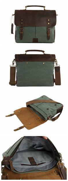 Canvas Leather Bag Briefcase Messenger Bag Shoulder Bag Laptop Bag 1807