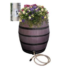 50 Gal. Brown Flat Back Whiskey Rain Barrel with Integrated Planter and Diverter System with Black Accent Bands, Brown/Black