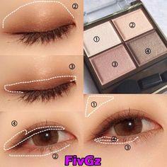 Pin by Rakuzan Mayuyu on メイク in 2020 Day Eye Makeup, Soft Eye Makeup, Monolid Makeup, Asian Eye Makeup, Eye Makeup Steps, Eyeshadow Makeup, Natural Makeup, Beauty Makeup, Eyeshadow Ideas