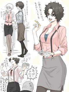 #gintama #sakamoto #tatsuma #sakata #gintoki #ginko #3z #genderbend #genderswap #rule63 #dekobokko #arc Sakamoto Tatsuma, Katsura Kotaro, Crying My Eyes Out, Gekkan Shoujo Nozaki Kun, Human Poses, Gender Swap, Okikagu, Anime One, Gender Bender