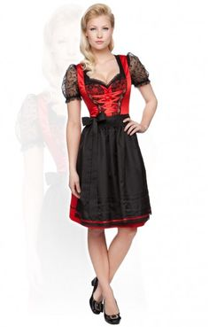Traditional mid length dirndl 3pcs. Fiesta red 60cm