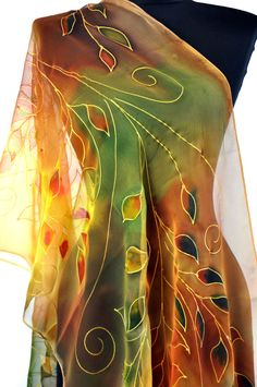 LEAVES IN ORANGE. Hand painted silk shawl. Orange and red beautiful leaves. Painting luxury silk scarf, woman silk accessory! Woman spring, fall and winter silk scarf , orange and green, yellow and gray silk scarf, sexy extravagant abstract flowers, abstract leaves !!! This scarf is the most