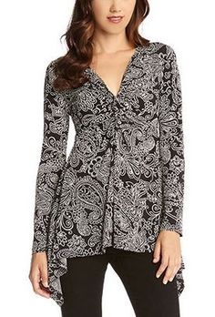 BLACK AND WHITE PAISLEY TWIST FRONT HANDKERCHIEF TOP