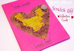 Surprise loved ones with Scratch Off Secret Message Valentine's Day Cards! A fun Valentine's Day craft for kids.