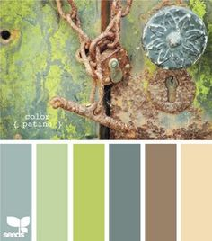 This is the perfect color palate to use in order to stick with what weve already got going on for the new screened in porch. The wicker furniture is all white, and then the padding for the furniture is close to the 2 blues. The paint is the taupe-ish brown shade. It would be gorgeous to try and add the lime and the seafoam in!