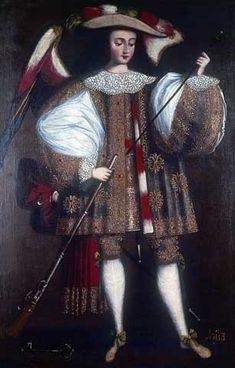 Escuela cusqueña. Arcángel Eliel con arcabuz, 1690-1720 Óleo sobre lienzo, 168,5 x 108 cm