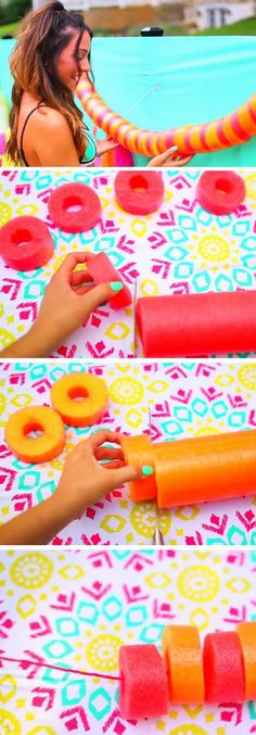 Some cute ideas but turn the pool noodle pieces sideways and run fishing line through the center so they look like Lifesavers! that way the garland would go a lot farther !!! Noodle Garland | DIY Pool Party Ideas for Teens