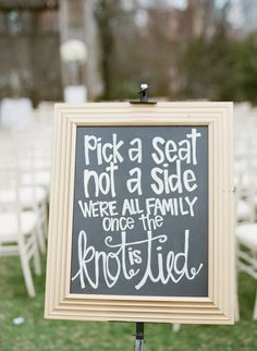 Pick a seat not a side wedding sign: http://www.stylemepretty.com/illinois-weddings/chicago/2016/09/09/a-classic-gilded-tented-city-wedding/ Photography: Britta Marie - http://brittamariephotography.com/