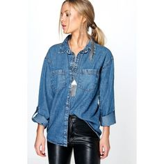 Boohoo Blue Helen Roll Sleeve Denim Shirt ($35) ❤ liked on Polyvore featuring tops, blue, flat top, high neck crop top, long sleeve crop top, blue shirt and denim shirt