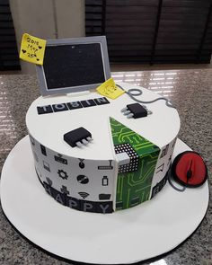 A re-make of a cake for a computer programmer. on his birthday celebration! EAT SOME CAKE TODAY! Birthday Cake For Father, Toddler Birthday Cakes, Funny Birthday Cakes, Homemade Birthday Cakes, Birthday Cakes For Men, 40th Birthday, Birthday Celebration, Geek Birthday, Birthday Parties