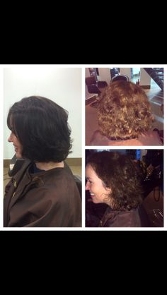 Right to left - before and after restyle cut and colour