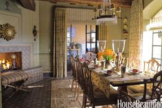French-Country Dining Room Designed by Cathy Kincaid, this dining room takes a cue from an old French farmhouse, with a beautiful French Directoire chandelier as the focal point. See a French country-inspired kitchen. Green Dining Room, Green Rooms, Dining Room Design, Dining Room Furniture, Green Walls, Dining Area, Dining Table, French Country Dining Room, French Country House