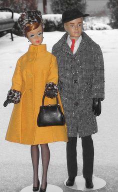 Barbie & Ken brave the snow storm by colormagickid Barbie Et Ken, Play Barbie, Ken Doll, Barbie Stuff, Vintage Barbie Clothes, Vintage Dolls, Doll Clothes, Baby Leggings, Poupées Barbie Collector