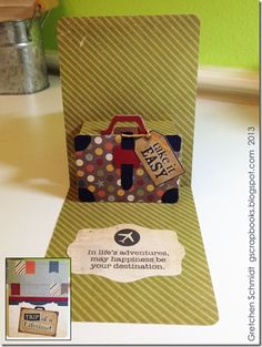 Trip of a Lifetime Card with Suitcase Pop `n Cuts by @Gretchen Schaefer