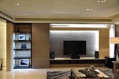 TV wall , lighting , Living room , interior design