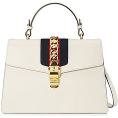 Gucci Sylvie tote bag (€2.730) ❤ liked on Polyvore featuring bags, handbags, tote bags, white, tote purses, leather handbags, leather handbag tote, gucci handbags and white tote
