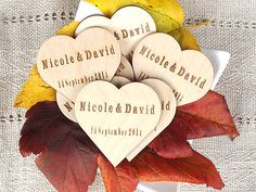 Personalized Custom Wooden Hearts Rustic Wedding Favors Vintage Inspired Shabby Chic Heart Tags Wood Heart