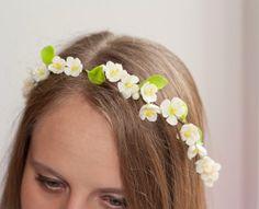 Bridal Headpiece Rustic Wedding Floral Crown by lagoaclaycreations, $59.00