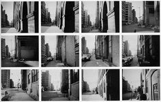 "Vito Acconci, Blinks, Nov 23, 1969; afternoon. Photo-Piece, Greenwich Street, NYC; Kodak Instamatic 124, b/w film.   ""Holding a camera, aimed away from me and ready to shoot, while walking a continuous line down a city street.    Try not to blink.    Each time I blink: snap a photo. """