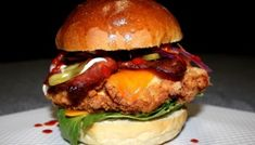 Delicious buttermilk fried chicken burger with bacon, cheese, cos, kewpie mayo and hot sauce on a brioche bun. Fried Chicken Burger, Buttermilk Fried Chicken, Chicken Liver Recipes, Salmon Recipes, Slider Sandwiches, Sliders, Liver And Onions, How To Cook Liver, Chicken Livers