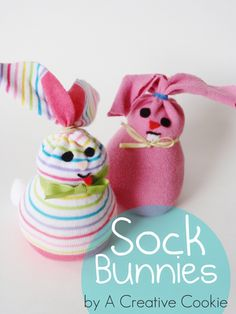 Cute little bunnies from socks!  #cute #bunny #socks #spring #easter