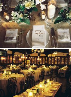** white florals, various white pillar candles in glass vases, butcher paper on table.