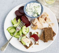 smoked salmon dill cottage cheese beetroot cucumber platter, maybe some pickles too?