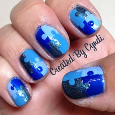"""Blue Nails for Autism, Light It Up Blue, April Autism Awareness, Nail Art DIY puzzle pieces, Zoya """"Yummy"""" & """"Crystal"""", essie """"bikini so teeny"""" and wet 'n wild fastdry """"saved by the bell"""" (Created By Cyndi)"""