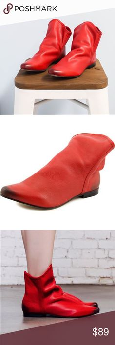 """Red Distressed Leather Slouch Bootie Sophisticated-cool and a total softie too. This gorgeous flat slouchy bootie featuring a supple leather upper and classic pointy burnished toe! A padded footbed and smooth lining.  Heel Height: 1/2"""" Shaft Height: 6 1/2"""" Matisse X Free People Free People Shoes Ankle Boots & Booties"""