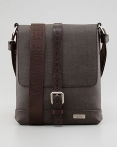 New Form Men's Coated Canvas Messenger Bag, Brown by Salvatore Ferragamo at Neiman Marcus.