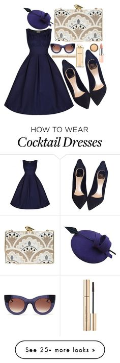 """Formal navy"" by lauraleeanne on Polyvore featuring KOTUR, Christian Dior, Salvatore Ferragamo, Thierry Lasry, Dolce&Gabbana, Rimmel, By Terry, women's clothing, women's fashion and women"