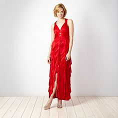 Pearce II Fionda Designer red ruffled jersey maxi dress - Evening & party dresses - Dresses - Women - Debenhams Mobile