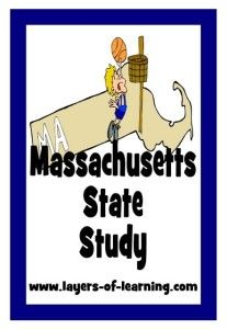 Massachusetts state study for kids with a printable map and activity ideas.