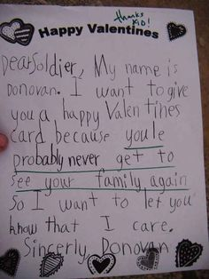 This pretty cruel Valentine to a deployed soldier.
