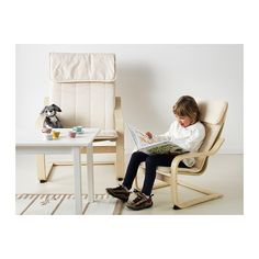 POÄNG Children's armchair, birch veneer, Almås natural birch veneer/Almås natural -