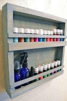 Wall Mounted Wood Essential Oil Display Rack by PierceBuilt