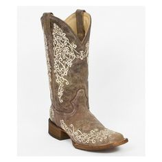 Corral Factory Second Embroidered Cowboy Boot ($107) ❤ liked on Polyvore featuring shoes, boots, brown, brown cowgirl boots, square toe western boots, square toe cowgirl boots, vintage cowboy boots and brown boots