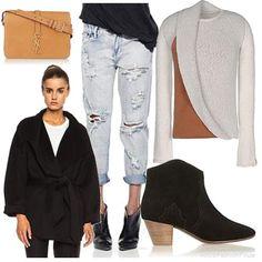 | Women's Outfit |  boyfriends jeans + anckle boots + shoulder bag YSL + black wool coat  + sweater