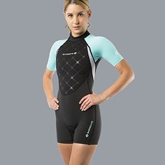 New Women's LavaCore LavaSkin Sporty Shorty Wetsuit - Green (Size 3X-Small) for Scuba Diving, Surfing, Kayaking, Rafting, Paddling & Many Other WaterSports