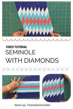 Video tutorial Seminole with diamonds – Seminole patchwork – Qquilting 2020 Quilting For Beginners, Quilting Tutorials, Quilting Projects, Quilting Designs, Sewing Projects, Quilt Square Patterns, Patchwork Patterns, Quilt Patterns Free, Square Quilt