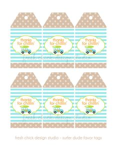 PRINTABLE PARTY - Surfer Dude Party Birthday or Baby Shower Party Thank You Favor Tags. $6.00, via Etsy.